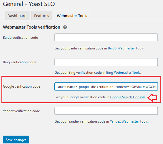 Verify using HTML Tag in Yoast Plugin