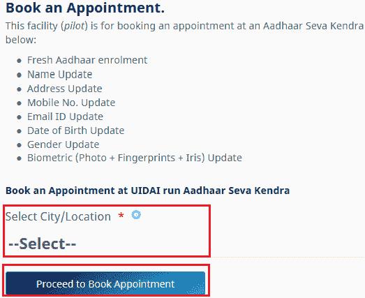 Select aadhar card seva kendra